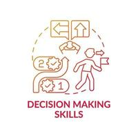 Decision making skills red gradient concept icon vector