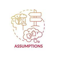 Assumptions red gradient concept icon vector