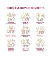 Conjunto de iconos de concepto degradado rojo de resolución de problemas vector