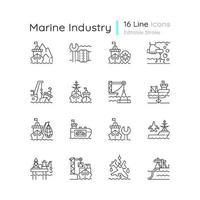 conjunto de iconos lineales de la industria marina vector