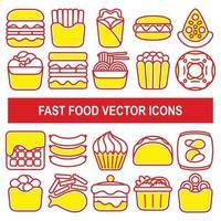 Iconos de vector de comida rápida en estilo de diseño de contorno.