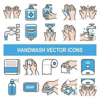 Handwash vector icons in filled outline design style.