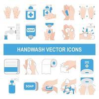 iconos de vector de lavado de manos en estilo de diseño plano.