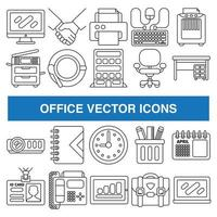 Office vector icons in outline design style.