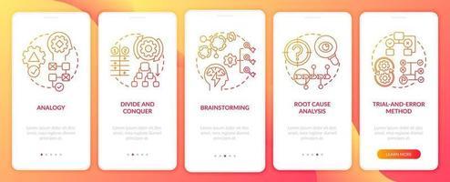 Estrategias de resolución de problemas Pantalla roja de la página de la aplicación móvil incorporada con conceptos vector