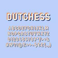 Dutchess vintage 3d vector alphabet set