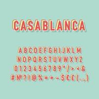 Casablanca vintage 3d vector alphabet set