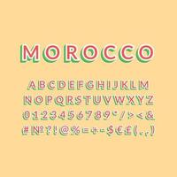 Morocco vintage 3d vector alphabet set