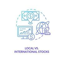 icono de concepto de acciones locales vs internacionales vector