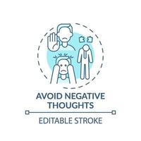 Evite el pensamiento negativo concepto turquesa icono vector
