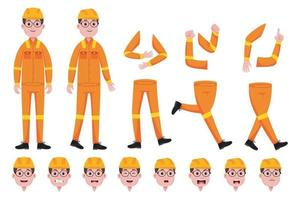 Engineer Man Character Creation Set vector