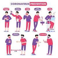 hombres jóvenes para la prevención del coronavirus vector