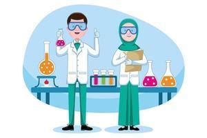Chemist working in lab vector
