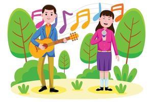pareja cantando y tocando la guitarra en el parque vector