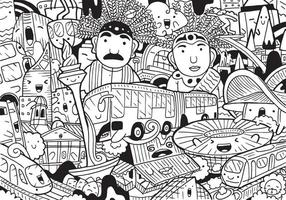Jakarta doodle with vector illustration.