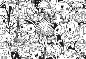 Paris doodle with vector illustration