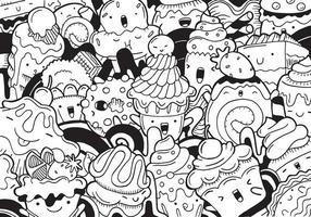 sweet dessert doodle with vector illustration