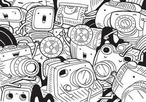 Camera doodle with vector illustration.
