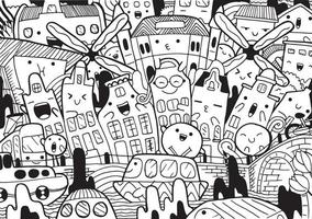 Amsterdam doodle with vector illustration.