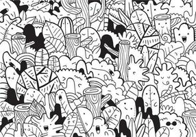 Forest doodle with vector illustration.