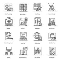 Big Data and Data Processing Icons vector
