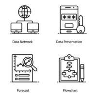 iconos de big data y datacenter vector