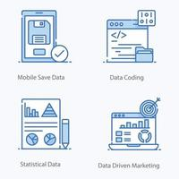 Data Network and Big Data Icons vector