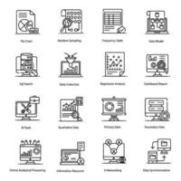 Big Data and Data Organization Icons vector