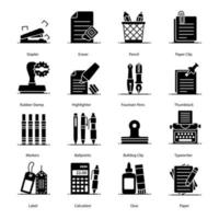 Office Supplies and Equipment Icons vector
