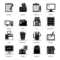Stationery Items and Accessories Icons vector