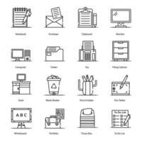 artículos de papelería y accesorios iconos vector