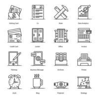 accesorios de oficina e iconos de papelería vector