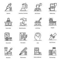 iconos de equipos médicos y de laboratorio vector
