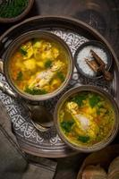 Asian style chicken soup in two clay bowls photo