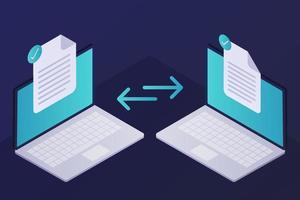 Isometric File Transfer vector