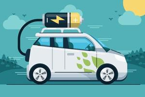 coche de batería eléctrico vector