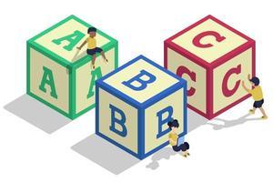 letras isométricas para niños vector