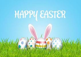 Fondo de Pascua con huevos en pasto y orejas de conejo. vector
