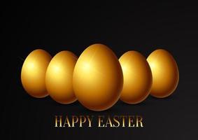 fondo de pascua con huevos dorados vector