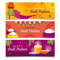 conjunto de banners de gudi padwa vector