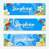 Songkran Festival Banner Set vector