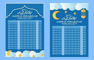 Fasting Calendar Schedule Template vector