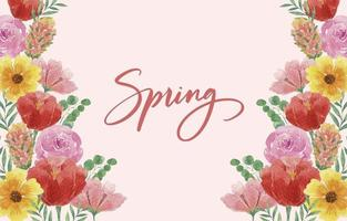 Beautiful Watercolor Spring Background with Blooming Flowers vector