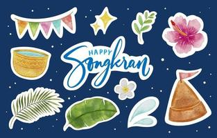 Cute Watercolor Happy Songkran Sticker Pack vector