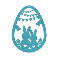 Easter egg with hares vector