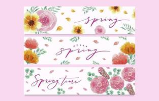 Watercolor Hello Spring Banner With Floral And Foliages vector
