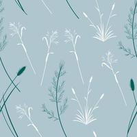 Seamless pattern with wild grasses silhouette vector