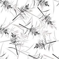 Monotone wild grass seamless pattern vector