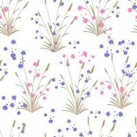 Seamless pattern with grasses and abstract shape vector