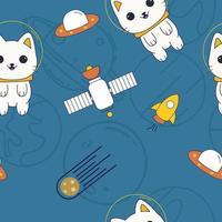 patrón sin fisuras con gatos astronautas, aventura intergaláctica vector